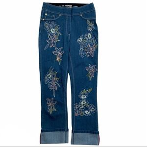 LUXE DENIM/NYGARD embroidered capri pull on jeans